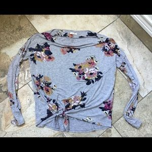 Maurices boat neck long sleeved floral top